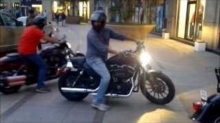 Harley Davidson Iron 883 - Screaming Eagle Exhaust Start Up Huge Revs.