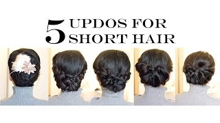 How-To for Short/Medium Hair | 5 Easy Updo Hairstyles (No-Heat)