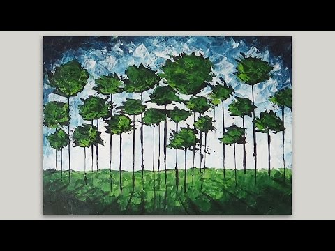 Abstract Acrylic Painting   Forest Abstract Painting   Palette Knife Speed Painting