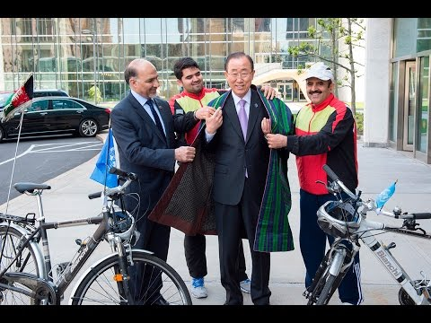 Afghan bikers carry a message of Peace to United Nations