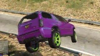 Grand Theft Auto V Cadillac Escalade BIG JUMP STUNT CLIMB XD