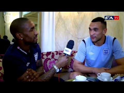Steven Caulker with guest interviewer Jermain Defoe, Montenegro vs England World Cup Qualifier