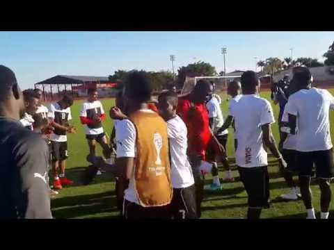 Ghana players singing the day before World Cup match against Portugal