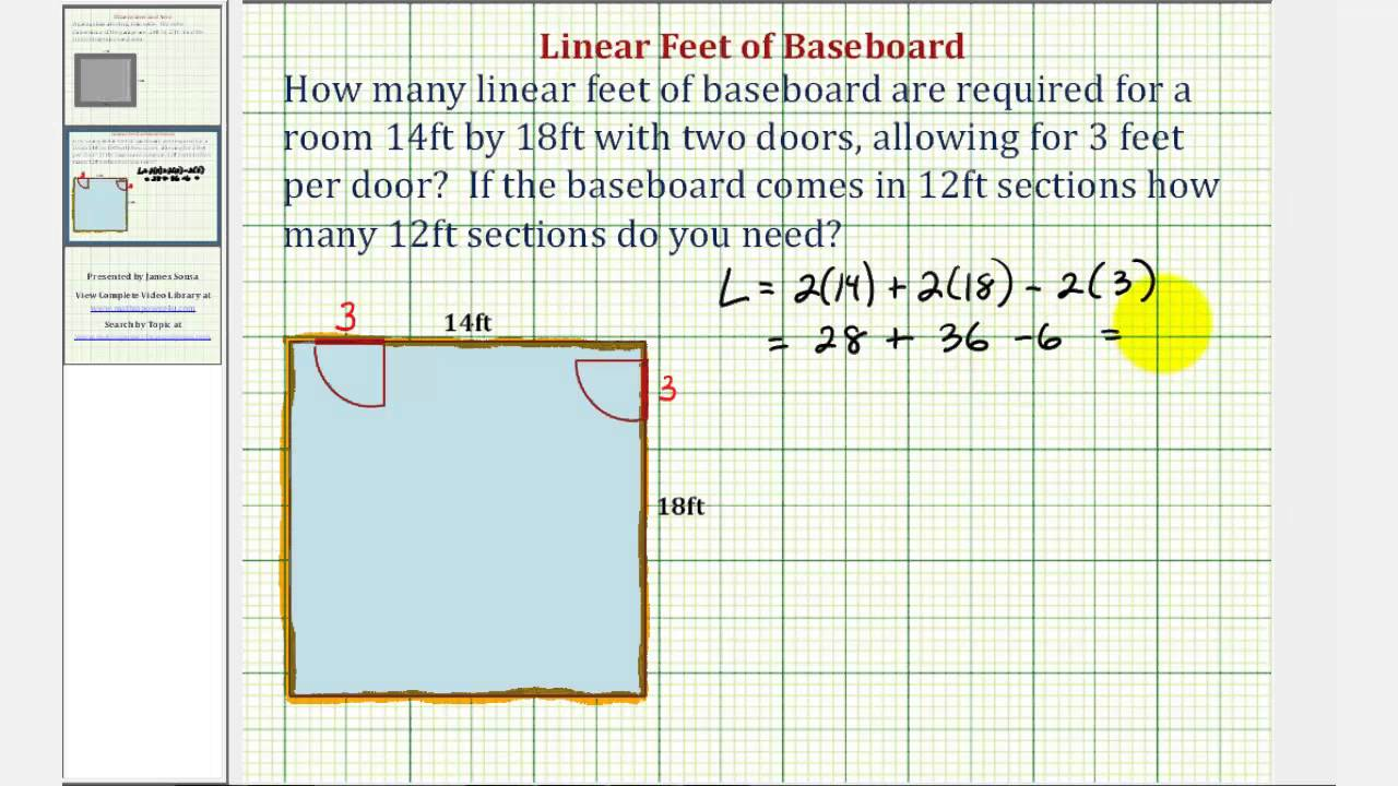 Ex perimeter application linear feet of baseboard for 12 by 12 room sq ft