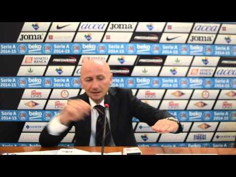Coach Luca Dalmonte al termine di Acea Virtus Roma - Dinamo Sassari
