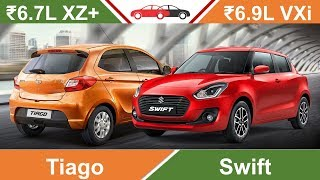 Tiago vs Swift Hindi | Swift VXi Tiago XZ Plus 2019 Review Car Comparison