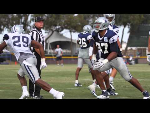 After a drill play, tempers flare between Dallas Cowboys Sean Lee and Terrance Williams, with DeMarco Murray throwing a football at Jason Hatcher, both who a...