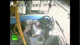 Chinese bus driver dodges a lamp post, saving his life!!!