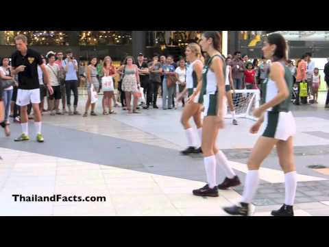 Beautiful Girls playing Soccer at Siam Paragon Bangkok Thailand