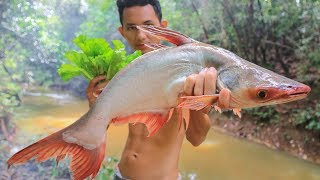 Primitive Technology: Cooking Big Fish (Khmer Food) in the Forest