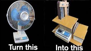古い扇風機をベルトサンダーにする方法 Making belt sander from old fan.