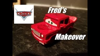 CARS - Fred's Makeover aka from a Rusty Car to a Lightning McQueen Version (rust-eze & elbow grease)