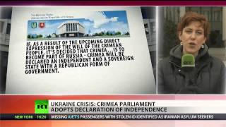 Crimean parliament adopts declaration of independence from (Ukraine)  3/11/14