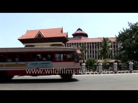 Traffic seen outside the Kerala Legislative Complex