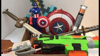 Box of Toys ⚔️ Captain America 🇺🇸 Sword Toy ⚔️ Nerf 💥Toys and Candy 🍭 for Kids 👦👧