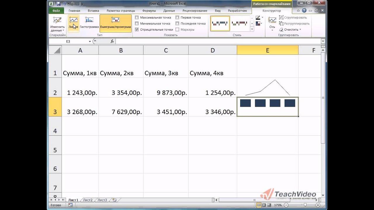 Спарклайны в Excel 2010 - YouTube