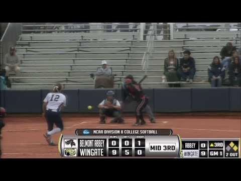 2014 Wingate Softball - Video Highlights vs Belmont Abbey (3/19/2014)