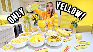 I only ate YELLOW food for 24 HOURS Challenge!