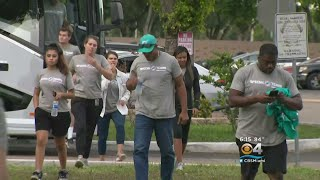 Dolphins Players Join Miami Gardens Police In Handing Out Donations To Residents Displaced By Fire