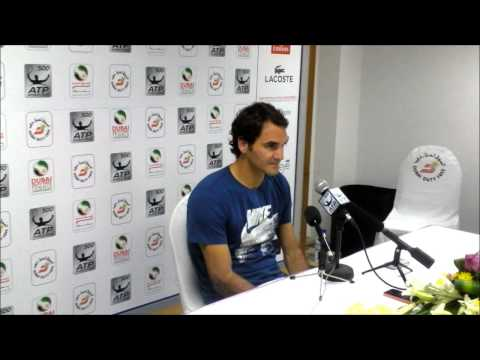 Roger Federer after his Djokovic semi final win at the 2014 Dubai Duty Free Tennis Championships