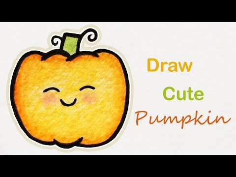 How to draw a cute Pumpkin | Step by step art for kids