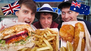 Brits try Australian Fish and Chips (how is it BETTER?!)