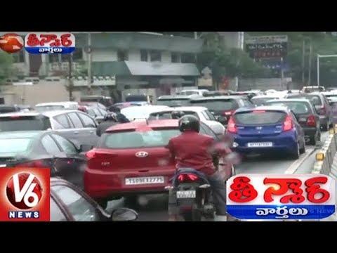 Heavy Rains In Hyderabad : People Facing Problems With Traffic Jams | Teenmaar News | V6 News