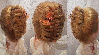Прически. Прическа с бубликом с косой для школы, офис, работы hair легкие косы быстрые прически