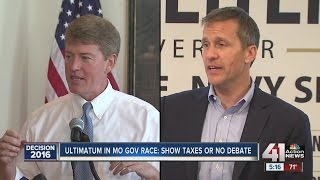 Ultimatum in MO governor's race: Show taxes or no debate