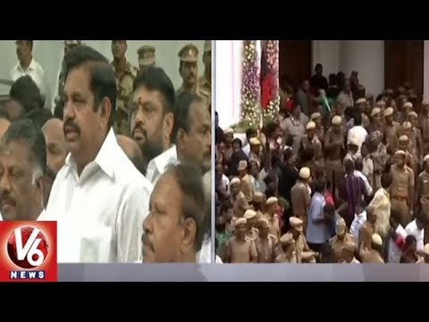Tamil Nadu CM Palanisamy Pays Tribute To DMK Chief Karunanidhi At Rajaji Hall | V6 News