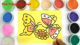 Đồ chơi trẻ em TÔ MÀU TRANH CÁT HAI CHÚ BƯỚM - BÉ HỌC TÔ MÀU - Colored Butterfly Sand Painting For C