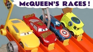Cars 3 Lightning McQueen Hot Wheels Track races with superhero cars and funny Funlings TT4U
