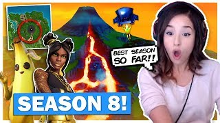 NEW Hot Skins! Pokimane Reacts to Fortnite SEASON 8 Battle Pass!
