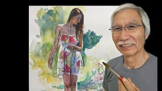 [ Eng sub ] Watercolor Tutorial   How to paint Standing Figure Woman 水彩画の基本〜女性の立ち姿を描くコツ 6分講座