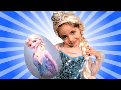 Disney Frozen Videos – Elsa Toys In Giant Frozen Surprise Egg Opening + Wig and Tiara
