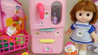 Baby doll refrigerator surprise eggs and food toys baby Doli play
