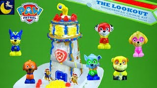 Paw Patrol Toys Build The Lookout Tower Gingerbread House Cookie Kit with Super Hero Pups Toys