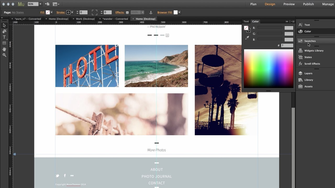 Adobe Muse Interface Adobe Muse cc 2014 Top 8 New