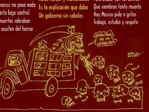 Trasvesti entre los cadaveres de Veracruz Calavera versos Caricatura Politica