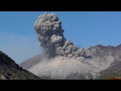 Explosive Vulcanian Eruption and Small Pyroclastic Flow, Sakurajima Volcano, Japan