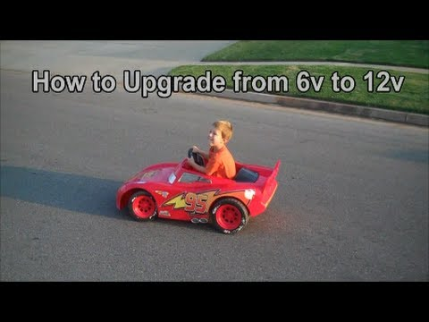 How to upgrade from 6v to 12v power wheels lightning mcqueen