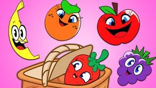Five Cute Fruits - फल गीत - हिंदी में फल जानें - Fruits Song - Nursery Rhymes in Hindi