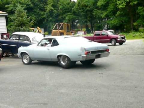 Jims 1970 Nova Burnout Launch SB Chevy 383 Puttin Down 500 Hp To Rear Wheels Video