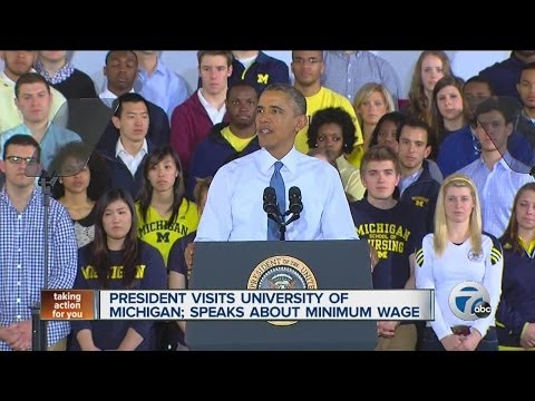 President Obama visits University of Michigan about minimum wage