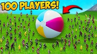 GIANT BEACHBALL AND 100 PLAYERS! - Fortnite Funny Fails and WTF Moments! #595