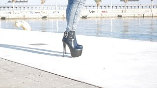 PrincessWalks - Harbour Walk In Buckled Leather Boots - Sexy Blonde In Denim And Heels