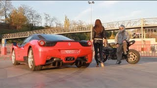 FERRARI VS KAWASAKI DRIFT MOTORCYCLE GYMKHANA STUNT MURDER DAYS 3