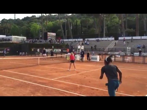 Gael Monfils jumps over Daria Gavrilova in Rome Masters