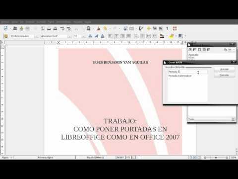 como poner, crear portadas en writer openoffice/libreoffice como word 2007