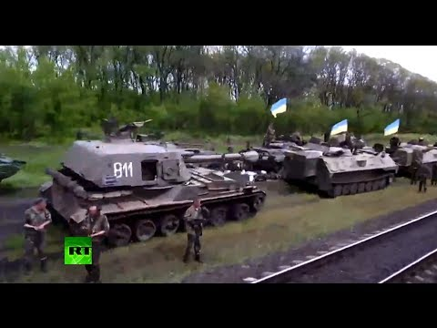 Video: Huge build-up of tanks, artillery, missile systems near Slavyansk